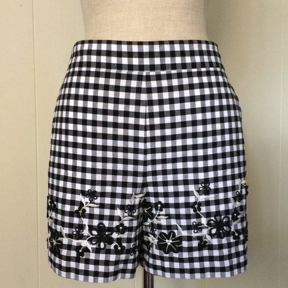 Ann Taylor Pants - Embroidered Gingham Shorts
